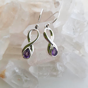 Amethyst Infinity Earrings (sterling silver)