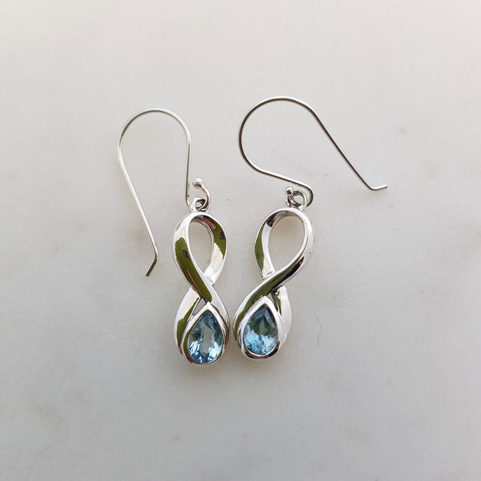 Blue Topaz Infinity Earrings (sterling silver)