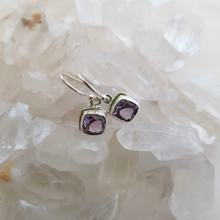 Amethyst Square Drop Earrings (sterling silver)