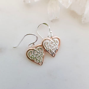 Celtic Knot Heart Earrings (sterling silver with rose gold plating)