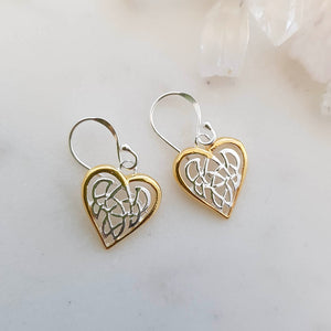 Celtic Knot Heart Earrings (sterling silver with yellow gold plating)