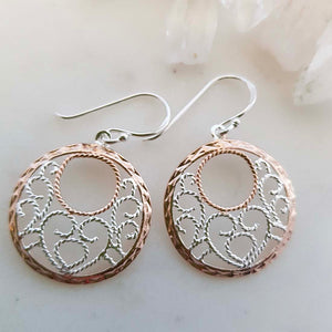 Celtic Design Filigree Earrings (sterling silver with rose gold plating)