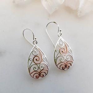 Celtic Design Tear Drop Earrings (sterling silver with rose gold plating)