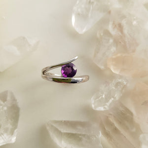 Amethyst Split Ring (sterling silver)