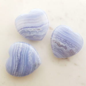 Blue Lace Agate Heart (assorted. approx. 4x4x1cm)
