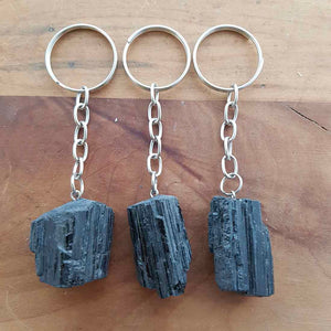 Black Tourmaline Rough Rock Keyring (assorted)