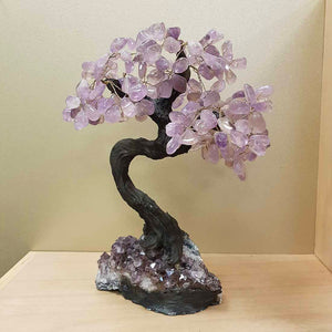 Amethyst Tree with Dark Trunk on Amethyst Cluster (approx. 34x25x19cm)