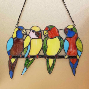 Colourful Parrot Leadlight Panel (approx. 24x33cm)