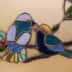 Smooching Lovebirds Leadlight Panel (approx. 32x36cm)