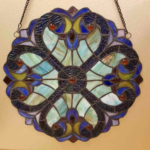Shades of Blue Leadlight Flower Panel (approx. 30x30cm)