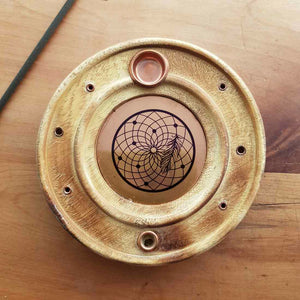 Dream Catcher Round Copper & Wood Incense Holder