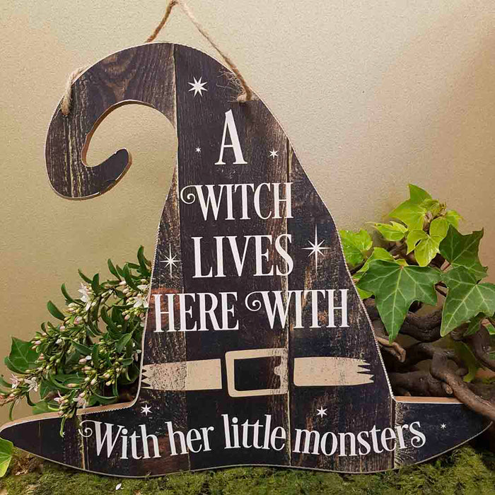 A Witch Lives Here Hat Sign (approx. 35x30cm)