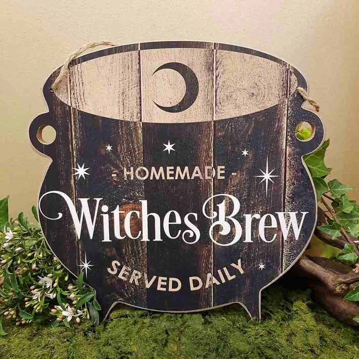 Homemade Witches Brew Served Daily Sign (approx. 24x24cm)