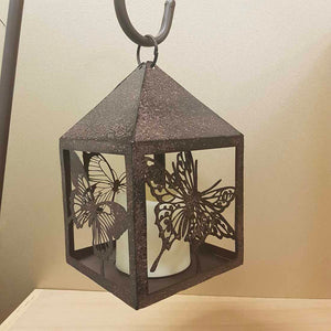 Butterfly Lantern on a Stake with LED Candle (approx. 110x19x13cm)