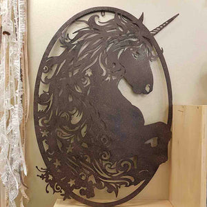 Unicorn Wall Art (dark brown metal. approx 99x60cm)