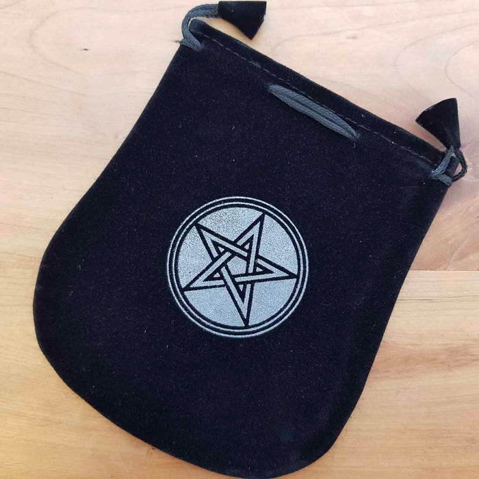 Pentacle Velvet Bag with Drawstring (approx. 14x12cm)