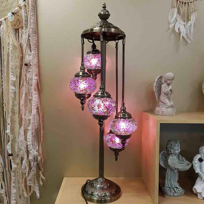 Pink 5 Tier Turkish Style Mosaic Lamp (approx. 97cm)