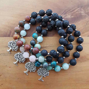 Lava & Crystal Bracelet with Tree of Life Charm (assorted)