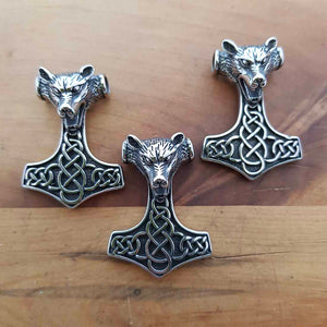 Thor's Hammer with Wolf's Head Pendant (stainless steel)