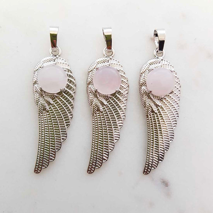 Rose Quartz Angel Wing Pendant (assorted. set in silver metal)