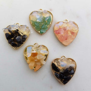 Crystal Chip Heart Pendant