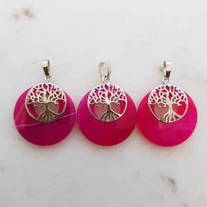 Pink Dyed Agate with Tree of Life Pendant