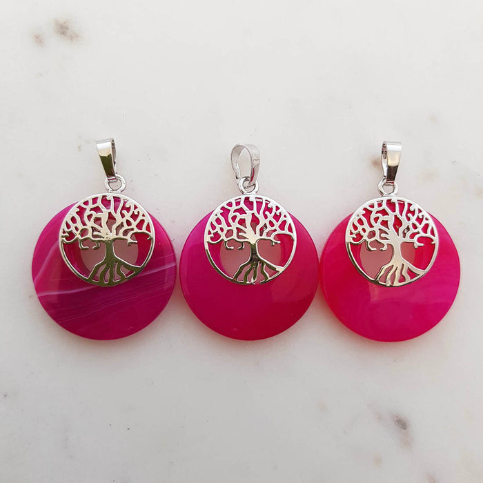 Pink Dyed Agate with Tree of Life Pendant (assorted. silver metal)