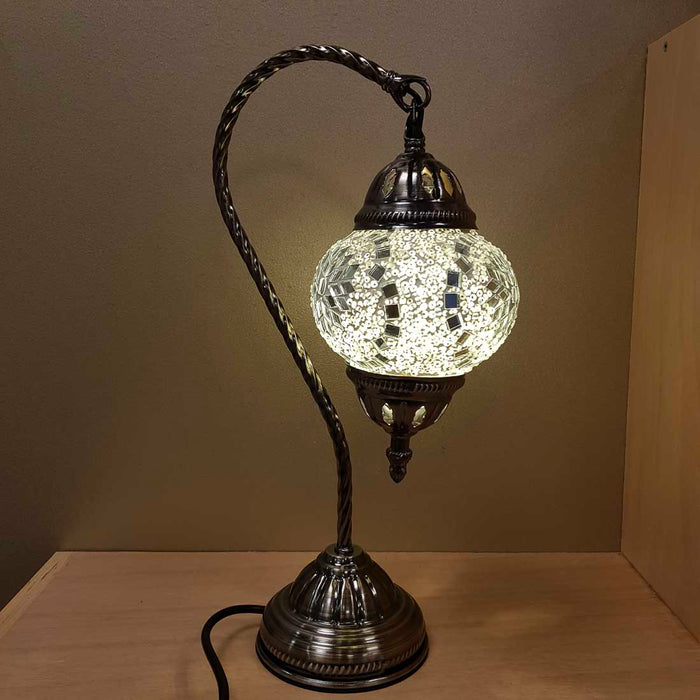 White & Silver Turkish Swan Neck Style Mosaic Lamp. (approx. 37cm)