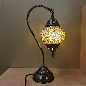 Honey & Amber Turkish Swan Neck Style Mosaic Lamp