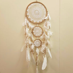 White Crochet Dream Catcher with 3 Ring