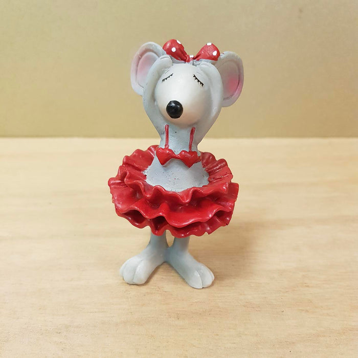 Cute Mouse in Red Dress (approx. 8.5x4.5x3.5cm)