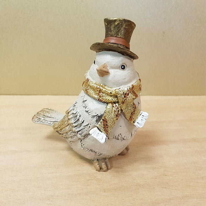 Gold Dusted Bird in Top Hat (approx. 11.5x11x6.5cm)