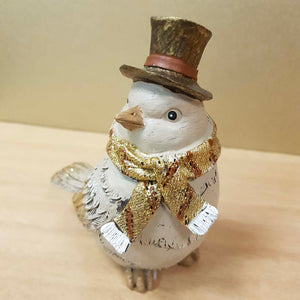 Gold Dusted Bird in Top Hat
