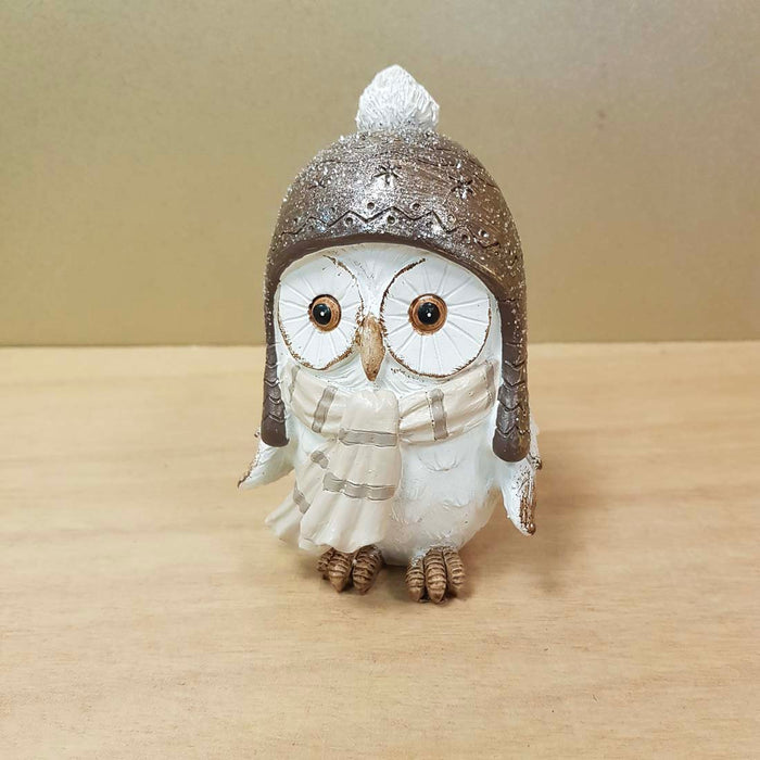 Gold Dusted Owl in Helmet (approx. 12x7x6cm)