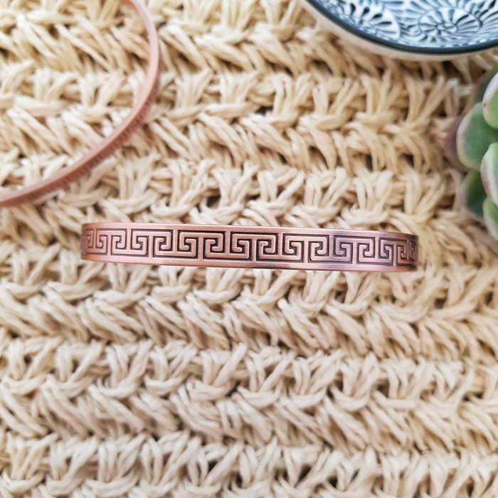 Arabesque Design Copper Bracelet with Magnets (approx. .8cm wide)