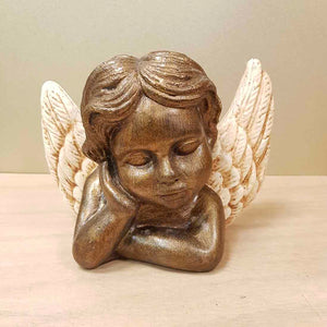 Bronze Look Angel Bust with Cream Wings