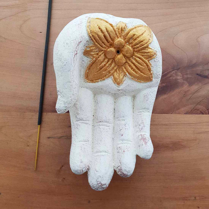 White Hand Incense Holder. (approx. 15x10x6cm)