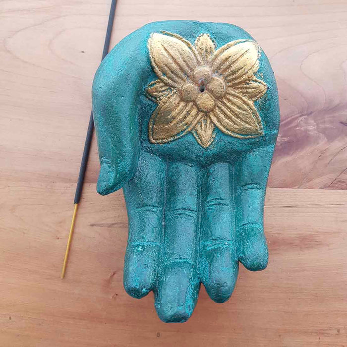 Green Hand Incense Holder. (approx. 15x10x6cm)