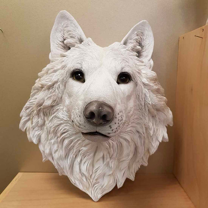 White Wolfs Head for Mounting on Wall (approx.