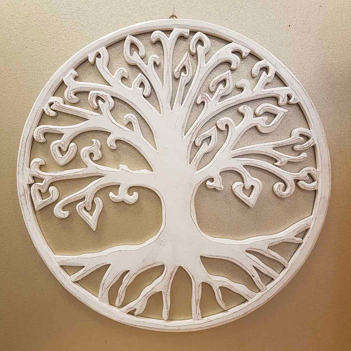 Carved Tree of Life with Heart Leaves (whitewash. approx. 40cm)