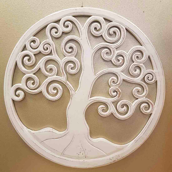 Carved Tree of Life (whitewash. approx. 40cm)
