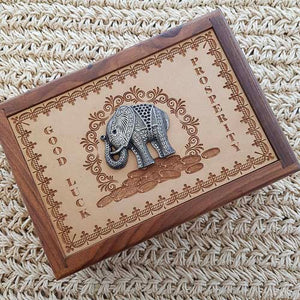 Carved Wooden Box with Elephant