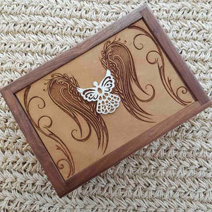 Carved Wooden Box with Angel