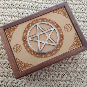 Carved Wooden Box with Pentacle