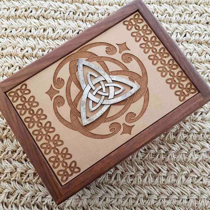 Carved Wooden Box with Triquetra (approx. 6x18x12.5cm)