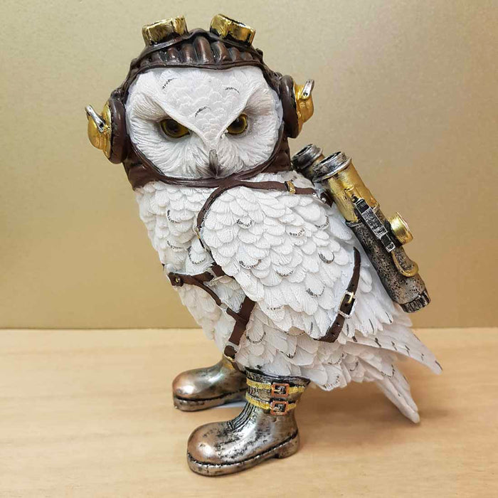 Steampunk Owl with Jet Pack (white. approx. 20x16cm)