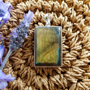Labradorite Rectangular Pendant set in Sterling Silver