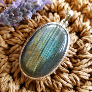 Labradorite Oval Pendant set in Sterling Silver