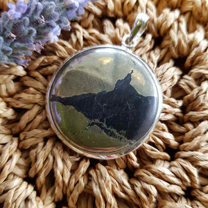 Apache Gold (aka chalcopyrite) Round Pendant set in Sterling Silver