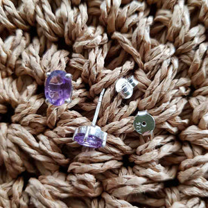 Amethyst Stud Earrings (sterling silver)